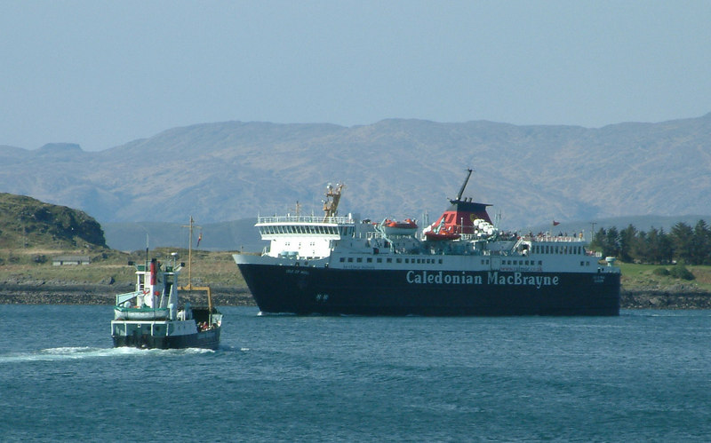 The two Port Glasgow-built ferries, Eigg and Isle of Mull, pass in Oban Bay