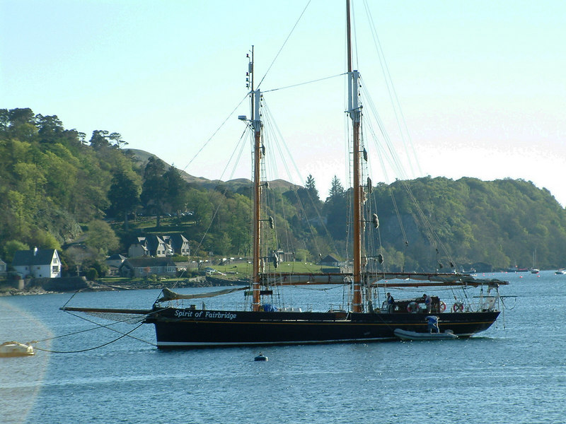Spirit of Fairbridge at anchor in Oban Bay.
