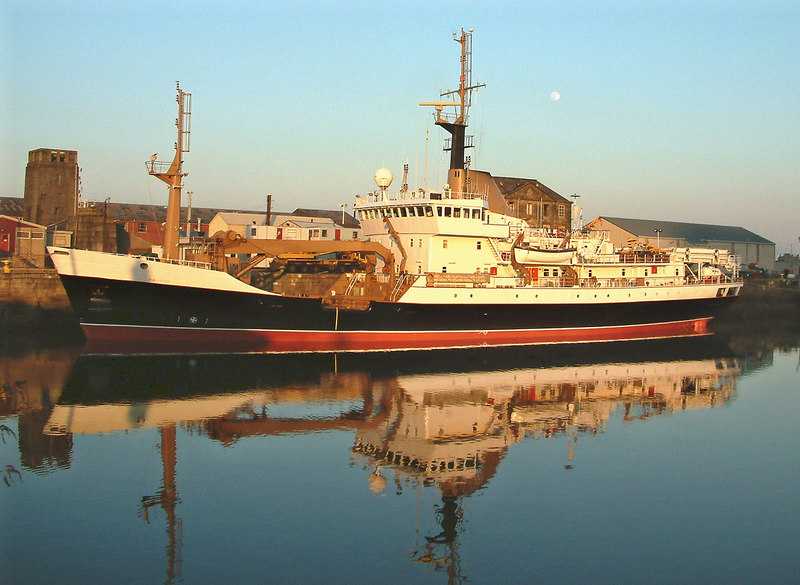 The Commissioners of Northern Lights lighthouse tender Pharos, built by Ferguson Shipbuilders at Port Glasgow in 1993 completing her annual overhaul by the Garvel Drydock Company in James Watt Dock, Greenock.