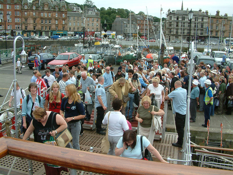 Waverley embarking passengers at Rothesay, Isle of Bute