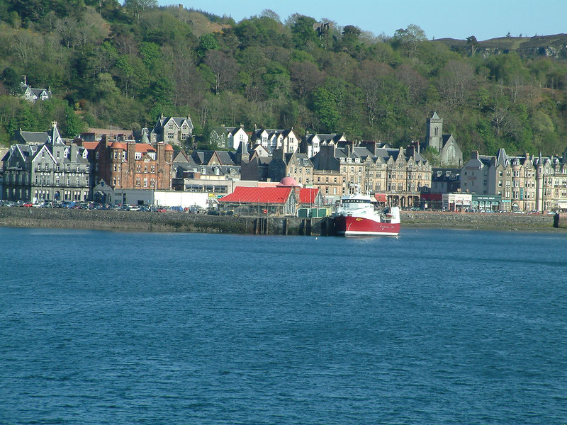 Oban from the bay - a well known, and often welcome, sight to Hebridean travellers over the past century and a half.