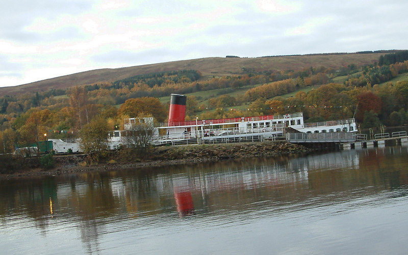In the Autumn of 2003 the a special Paddle Steamer Preservation Society Scottish Branch lunch was held aboard the Loch Lomond paddke steamer Maid of the Loch to commemorate the steamer's Golden Jubilee. Prior to the lunch a special sailing was made from Balloch on Messrs Sweeney's motor cruiser Lomond Duchess. This is the view of Maid of the Loch from Lomond Duchess as the latter prepared to enter the loch from the River Leven.