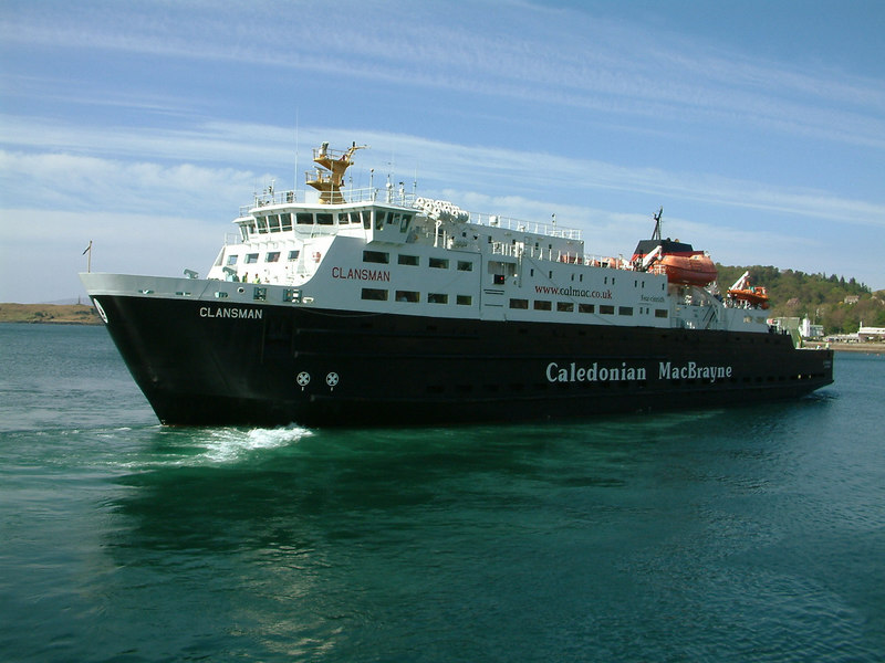 The car ferry Clansman, built by Appledore Shipbuilders in Devon, going away astern from Oban en route to Lochboisdale in the Outer Hebrides.