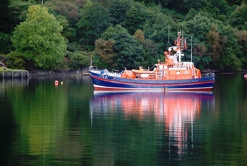 "Former 'Clyde' Class 70 foot RNLI lifeboat Grace Paterson Ritchie,  designed and built by Yarrows at Scotstoun, lying off Ormidale. The vessel is now privately owned. <br /> <br />  <a href=""http://www.clydesite.co.uk/clydebuilt/viewship.asp?id=1598"">http://www.clydesite.co.uk/clydebuilt/viewship.asp?id=1598</a>"