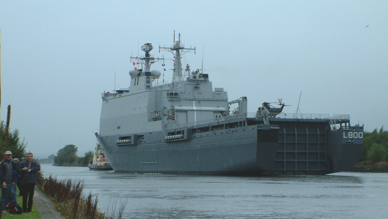 Dutch logistic ship Rotterdam passing Renfrew - the new 'Bay' Class RFA ships under construction at Govan bore a passing ressemblance to this vessel
