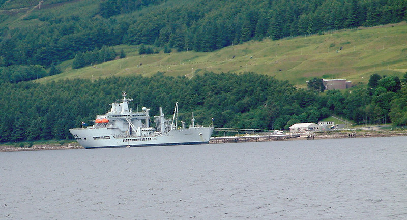 There were several naval visitors to the NATO oil terminal at the mouth of Loch Striven during 2003. These included the recently completed fleet oiler and replenishment ship RFA Wave Ruler which had been built at the BAE Systems shipyard at Govan on the Upper Clyde.