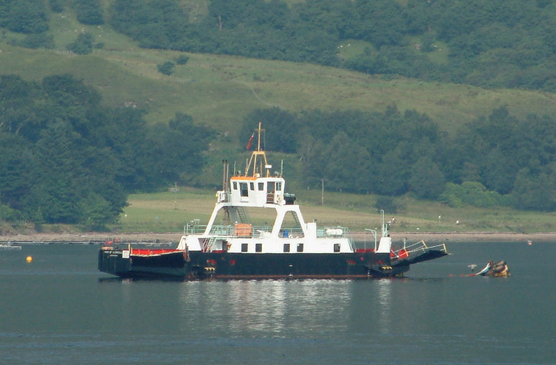 Laid off at the buoy at Ardgour was the spare ferry Maid of Glencoul. She had been built by McCrindle Shipbuilding at Ardrossan for the service acrss Kylesku in the far north west of the Scottish mainland. When replaced by a bridge at Kylesku, Maid of Glencoul was transferred to Corran where she acted as relief to the older but larger ferry Rosehaugh. The latter vessel had also come to Corran 'secondhand' as she had been built originally to serve on the crossing from Inverness to the Black Isle. She had been displaced from there by the opening of the Kessock Bridge. Rosehaugh was replaced at Ardgour by the new Corran.
