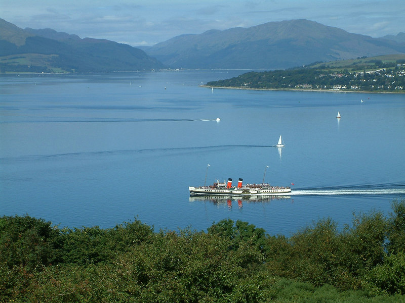 Waverley off Gourock with Loch Long beyond