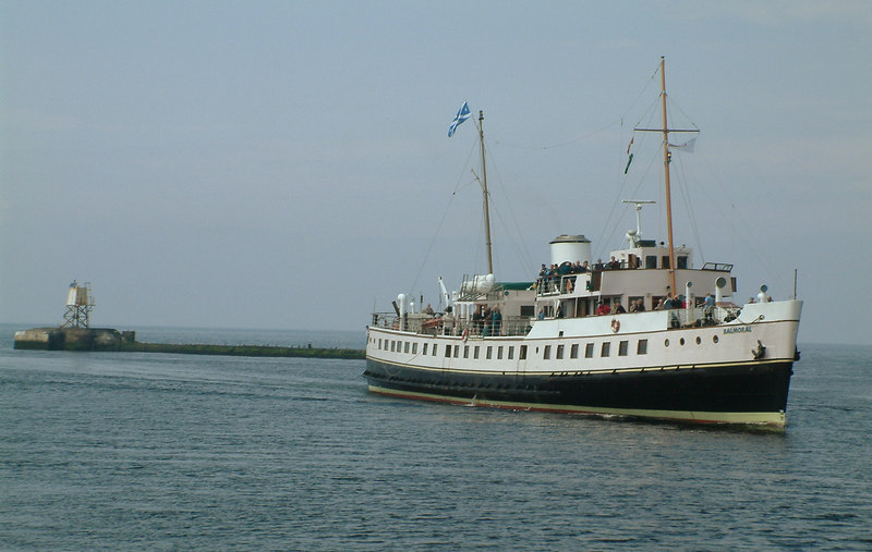Waverley Excursions' veteran motorship Balmoral entering the harbour at Ayr in the early summer of 2003.