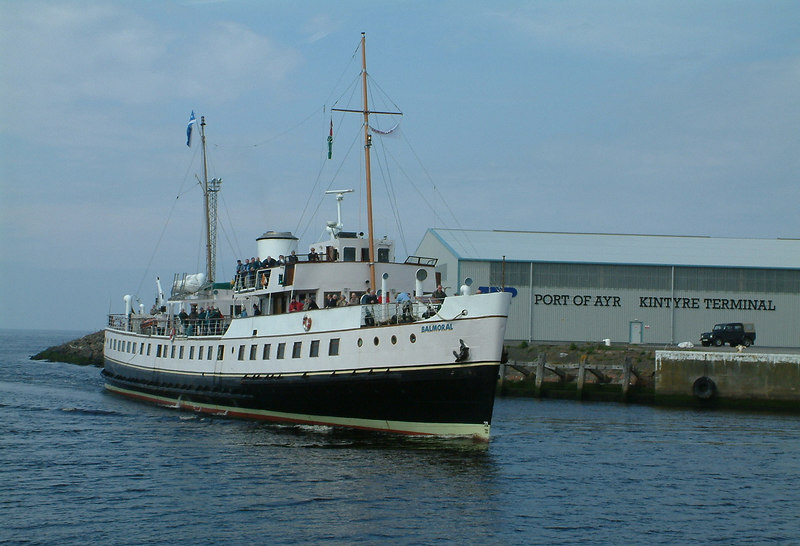 Balmoral passing the recently established Kintyre Terminal in the Port of Ayr on her approach to berth starboard side to the Compass Quay.