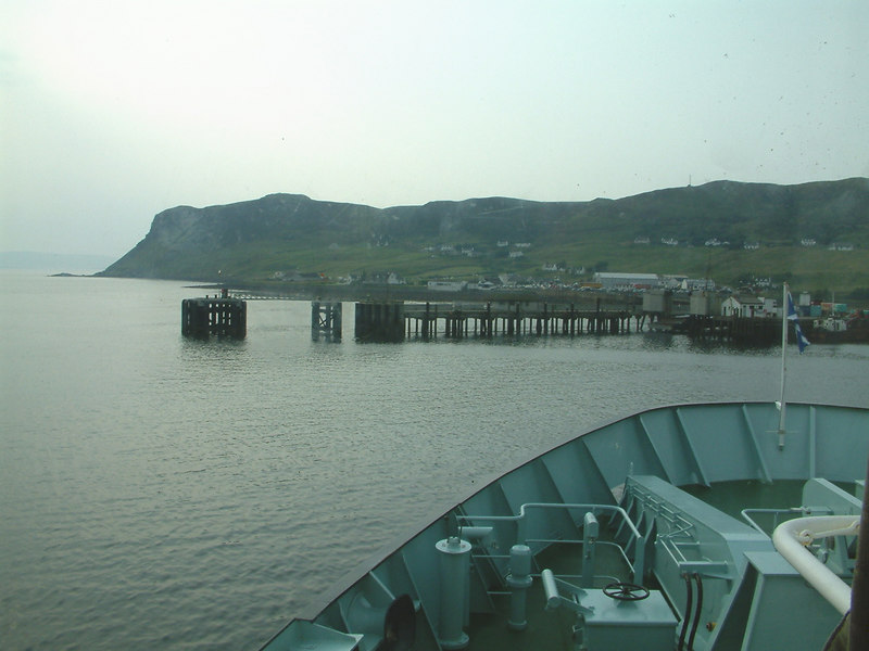 Approaching Uig ferry terminal, an extension of the old King Edward pier