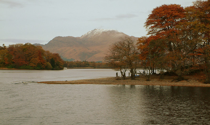 A memorable view of Ben Lomond as Lomond Duchess threads her ways through the islands on her return sailing to Balloch.