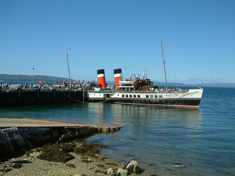 Waverley at the new pier at Lochranza, Islae of Arran