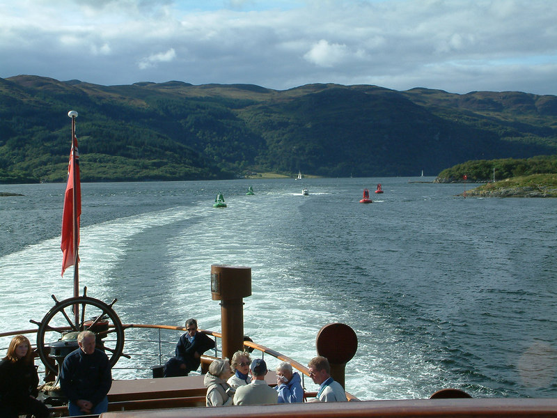 View aft from Waverley passing through The Narrows in the Kyles of Bute