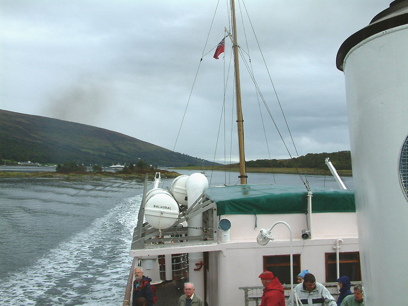 View after from Balmoral as she makes passage through the 'Dog-leg' channel of the Kyles of Bute between the isalnd of Bute and the Burnt Islands