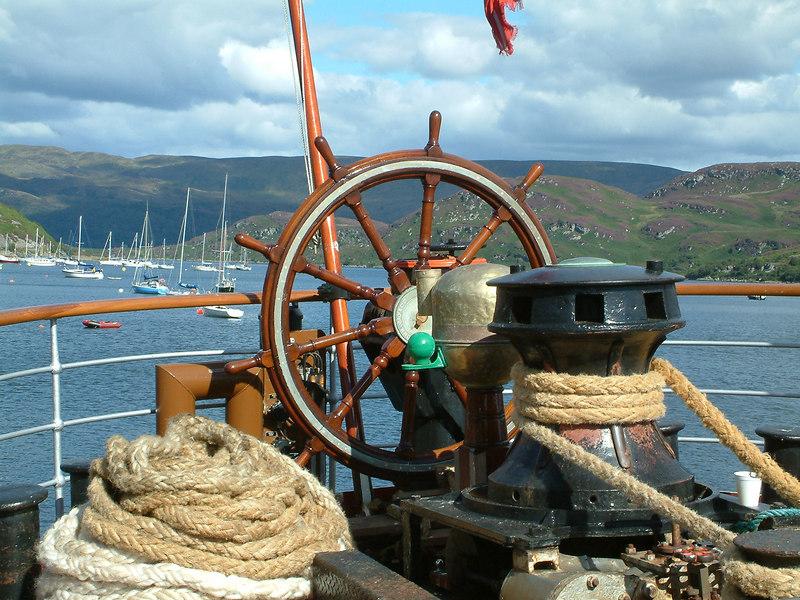 Waverley's emergency steering wheel, aft binnacle and capstan