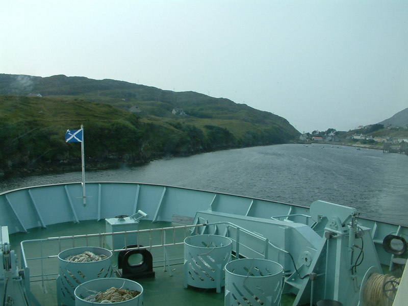 Hebrides canting as she departs Tarbert