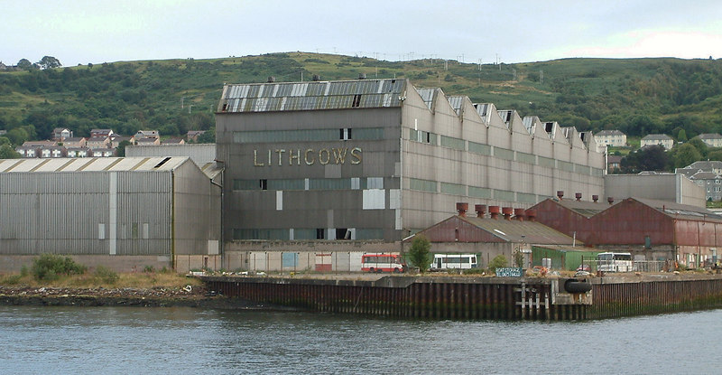 A final reminder of Port Glasgow's once massive shipbuilding industry, the Kingston shipyard of Lithgow's Ltd. Originally started as Russell & Co the firm built well over 1000 ships before closure in the 1990s. At its peak the firm was presided over by Sir James Lithgow, one of the most prominent industrialists in the UK.