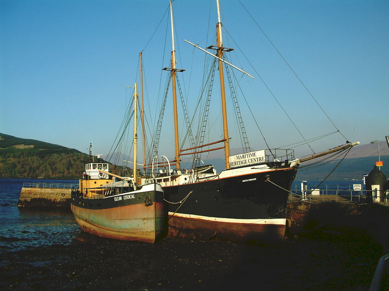 The two vessels that form the Inveraray Maritime Heritage Centre, Arctic Penguin and Eilean Eisdeal.
