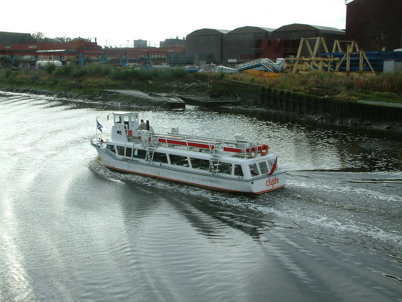 Clyde Waterbuses' Pride o' the Clyde heading upriver from her base at Braehead to her city terminal at the Broomielaw, seen here off Govan shipyard