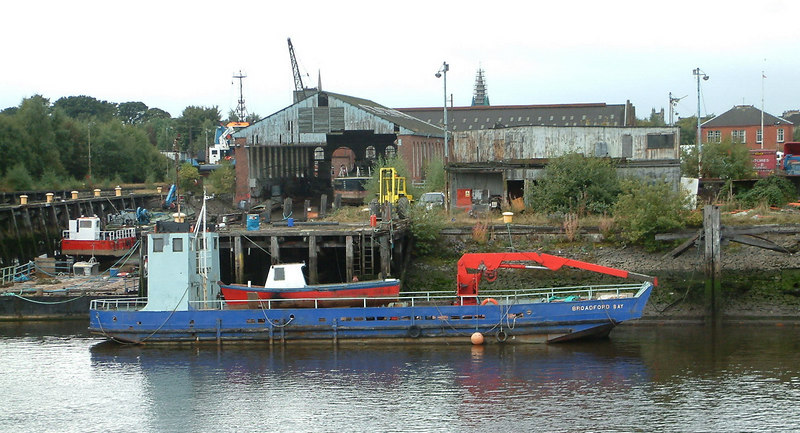 The former Caledonian Steam Packet Company Skye ferry Broadford (by this time renamed Broadford Bay) at the old Clyde Navigation Trust repair yard at Renfrew a short time before the yard was swept away and the area was sanitised. By 2006 there was little sign that it had ever been there.