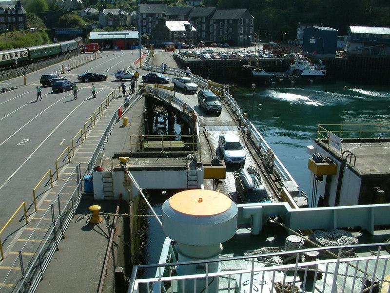 Cars loading onto Isle of Mull via her stern ramp