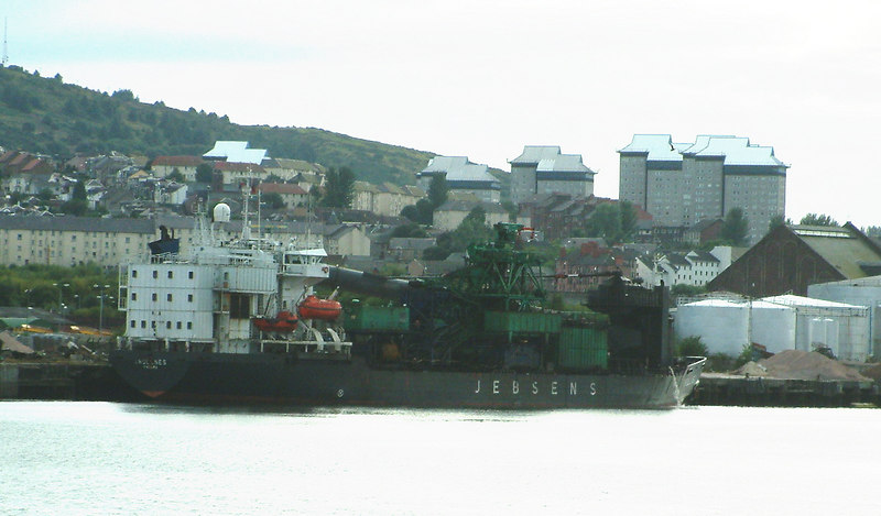Jebsen shipping company's Trollnes at the Repair Quay in the Great Harbour, Greenock