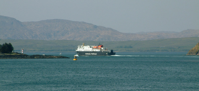 Clansman heading out into the Firth of Lorne. In the background is the low lying island of Lismore with the higher hills of Morvern beyond.