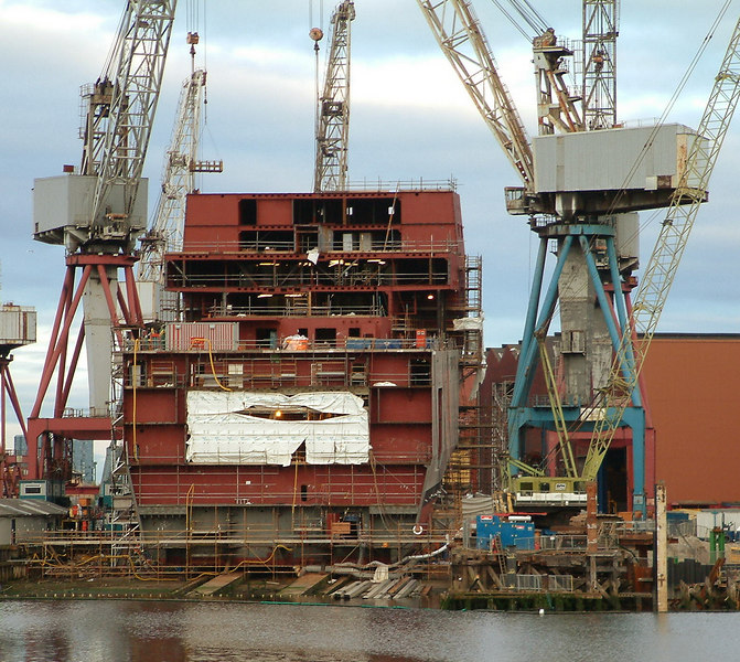 RFA Mounts Bay under construction at BAE Systems Govan (the former Fairfield shipyard)