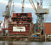 RFA Mounts Bay under construction at BAE Systems Govan (the former Fairfield shipyard)