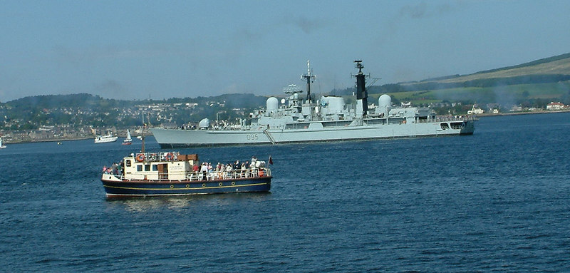 HMS Manchester was anchored off Helensburgh for the annual Faslane Fair on the day of Waverley's first post-rebuild sailing