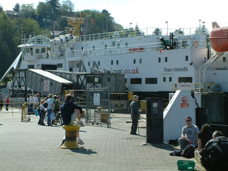 Springtime visit to Oban with car ferry Clansman alongside Oban Ferry Terminal - formerly Oban Railway Pier -