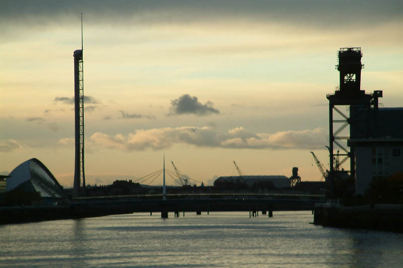 View down a rapidly changing Clydeside from Kingston at dusk