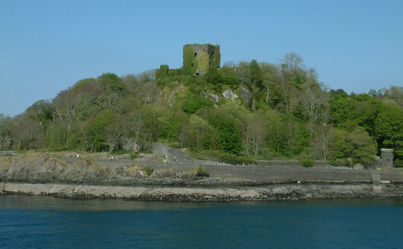 The ancient castle of Dunollie that guards the northern entrance to Oban Bay, viewed from mv Isle of Mull.