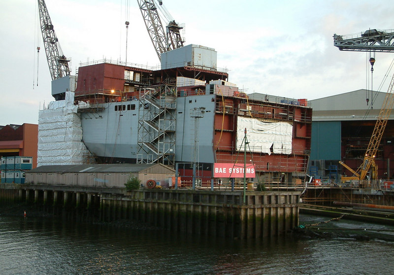 "The forward section of the first of two vessels designated Alternative Landing Ship Logistic vessels to be built at BAE Systems Govan shipyard. This vessel was named RFA Mounts Bay when launched in 2004. The second vessel was named Cardigan Bay. The two lead ships of the class Largs Bay and Lyme Bay were built at the Swan Hunter shipyard on Tyneside, however, due to long delay and huge budget overruns, the second Tynebuilt ship (Lyme Bay) had to be towed to Govan for completion in 2006. <br /> <br /> Further details of these ships at<br /> <br />  <a href=""http://www.naval-technology.com/projects/bay_class/index.html#bay_class17"">http://www.naval-technology.com/projects/bay_class/index.html#bay_class17</a>"