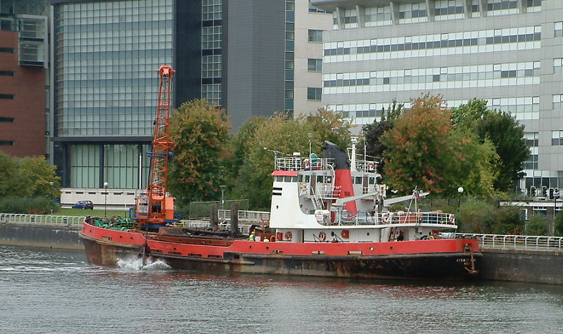 During her time on the Clyde in 2003 the dredger Hebble Sand also undertook dredging at the old original quay of the port of Glasgow, the Broomielaw. She was the last vessel of greater than 5m air draught to call at the Broomielaw as the construction of the new Clyde Arc bridge at Finnieston in 2005-06 precluded passage of such vessels into the original Glasgow Harbour. Europe's first ever steamship service had commenced from this quay in 1812. The restriction of the Clyde Navigation to the Broomielaw is one of the most regretable aspects of the regeneration of the working river.