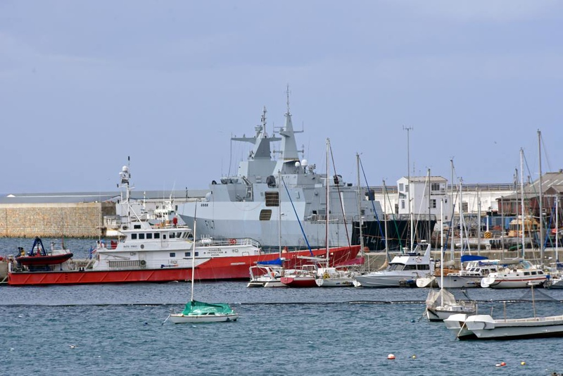 Fishery protection vessel Ruth First & South African frigate F147 Spioenkop, Simon's Town, 13 September 2018.  Ruth First was an anti-apartheid activist assassinated in 1982.  Spioenkop (= Spion Kop, near Ladysmith) was the notable Boer victory over the British in 1900, at the start of the second Anglo-Boer War.