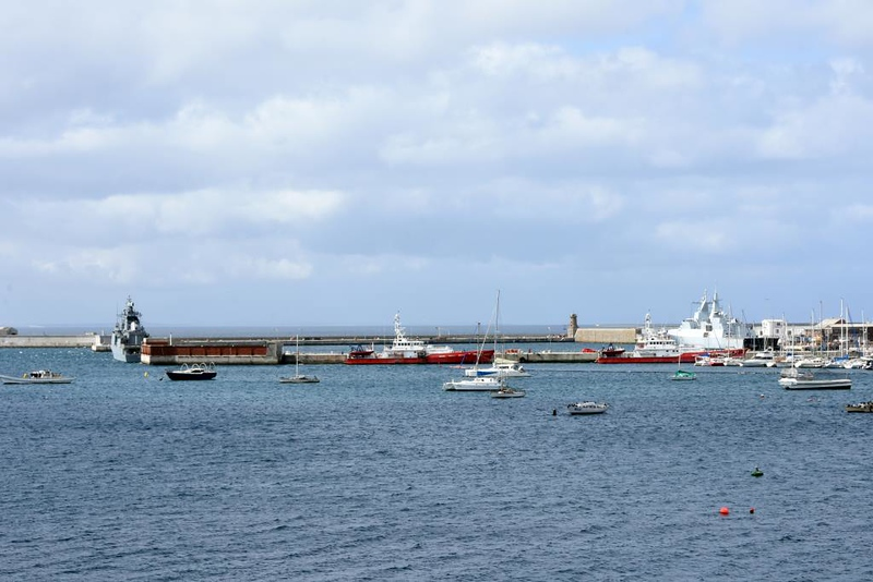 Simon's Town harbour, 13 September 2018 1.  Brazilian corvette V34 & South African frigate F147 are at left & right.  Between them is red-hulled fishery protection vessel Ruth First.