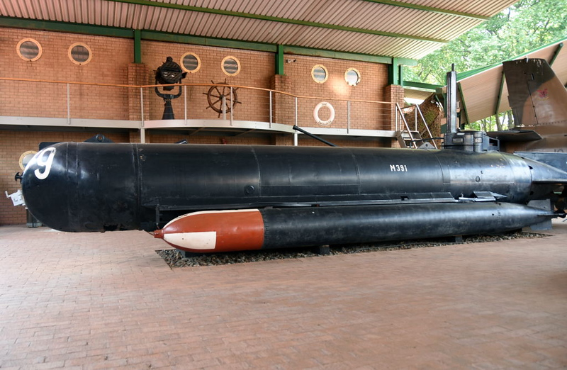 German Molch (= Newt or Salamander} midget submarine M391, South African National Museum of Military History, Johannesburg, 20 September 2018 2.