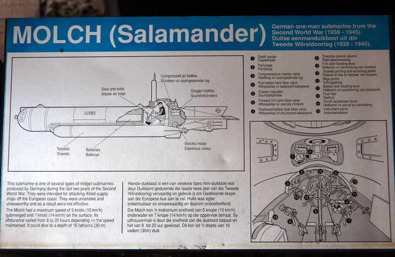 German Molch (= Newt or Salamander} midget submarine M391, South African National Museum of Military History, Johannesburg, 20 September 2018 4.