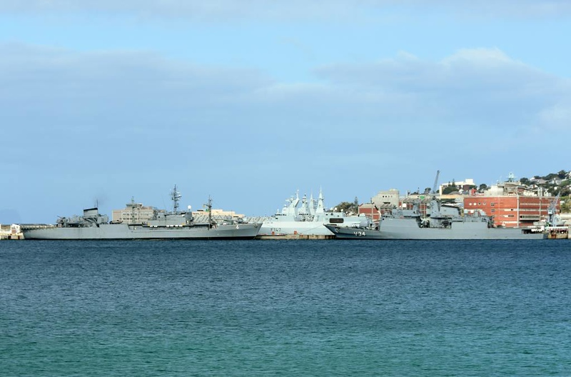 Uruguayan oiler ROU 04 General Artigas & Brazilian corvette V34 Barroso, Simon's Town, 13 September 2018.  South African frigate F147 Spioenkop is behind them.  The two South American ships were taking part in the biennial Atlasur exercise with South Africa.  Argentina also normally takes part, but not in 2018.