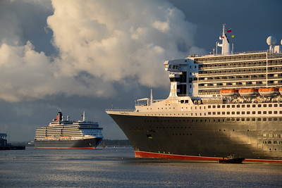 As QM2 was completing her turn, Queen Victoria came into sight, heading for the Ocean Dock at the end of a Norwegian Fjords cruise. 10th August 2018