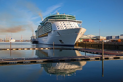 Independence of the Seas  in a reflective mood at 101 berth, Southampton on 11th August 2018.
