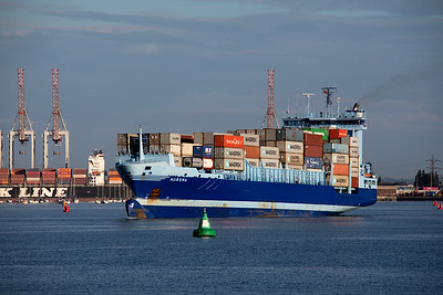 Aurora heads to sea from the container port in  Southampton on 10th August 2018, .  2001 built,  9981 GT, flag  Antigua Barbuda.  Her destination was Rotterdam.