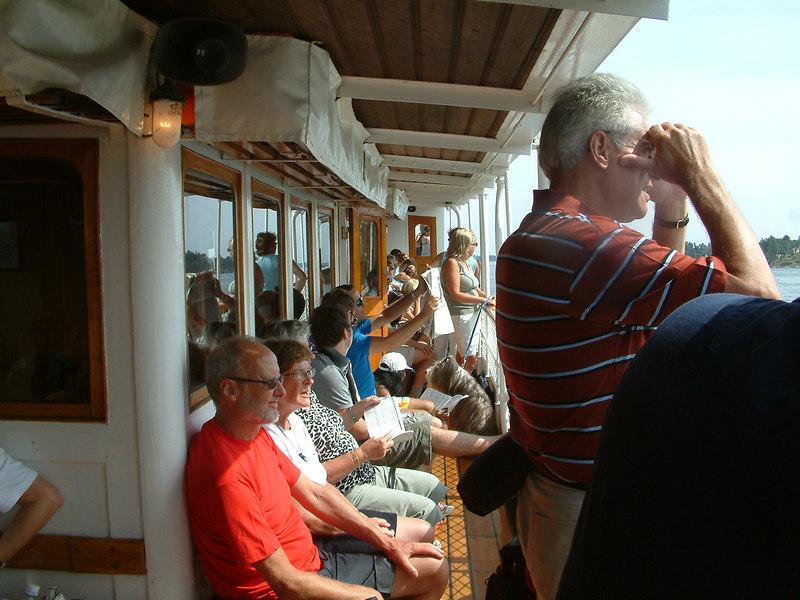 Passengers on upper deck of SS Norrskar in the Stockholm Archipelago, 28 07 2006