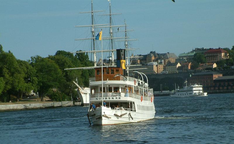 SS Norrskar leaving Strömkajen in Stockholm with AF Chapman and MV Waxholm I behind  27 07 2006