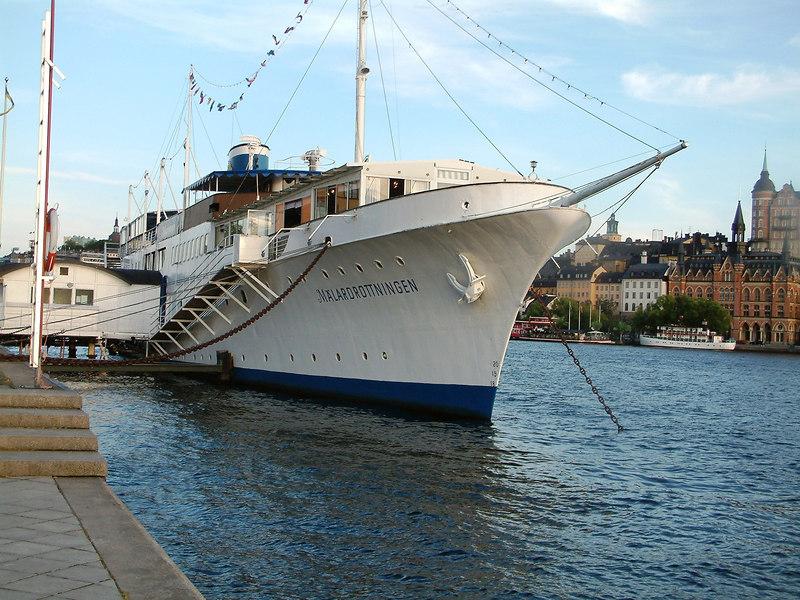 MV Malardrottningen, hotel ship at Riddarhamnen, Stockholm, 27 07 2006. This vessel was the former luxury yacht Vanadis.
