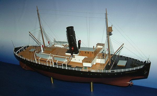 Icebreaker SS Sankt Erik, model of ship as originally built inn 1915 as SS Isbrytaren II showing forward propeller for dispersal of broken ice and water, 30 07 2006.<br /> <br /> (Isbrytaren II = Icebreaker No 2)
