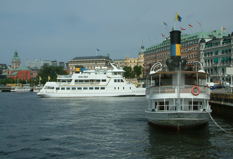 SS Storskar and MV Dalaro at Strömkajen in Stockholm 28 07 2006