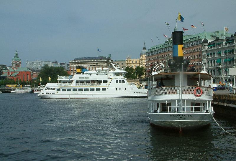 SS Storskar and MV Dalaro at Strömkajen in Stockholm 28 07 2006